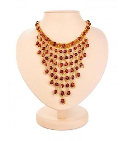 """Unusual necklace made of beads and natural amber """"Lukomorye"""""""
