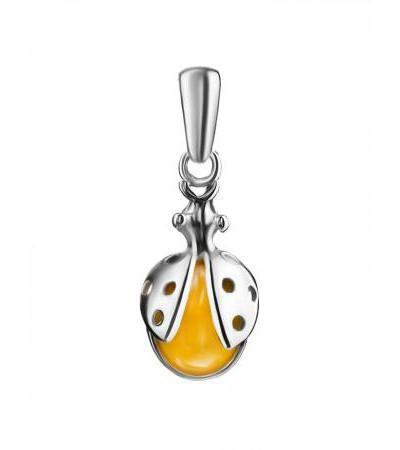 "Miniature pendant made of silver and honey amber ""Ladybug"""