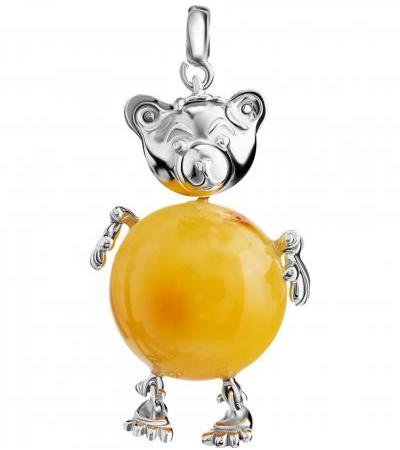 """Bright spectacular pendant made of silver and natural honey-colored amber """"Bear"""""""