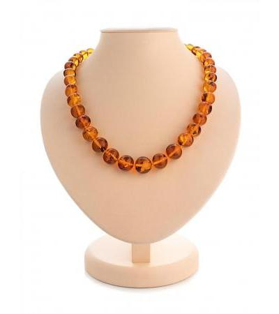"Elegant beads from natural shining amber ""Crumpled ball"""