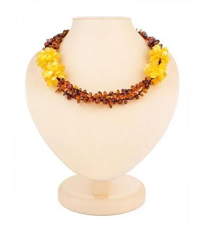 "Bright openwork woven necklace made of natural amber ""Chrysanthemum"""