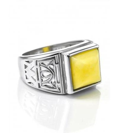 """Silver ring with natural honey-colored amber """"Caesar"""""""