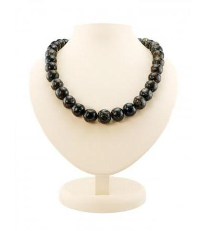 "Amber beads ""Black polished meteorite"""