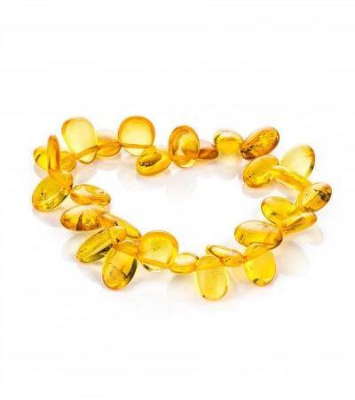 "Bracelet made of natural amber golden shade ""Sea buckthorn"""