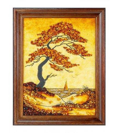 """Picture from natural amber """"In the wind"""" 47 cm (H) x 37 cm (W)"""