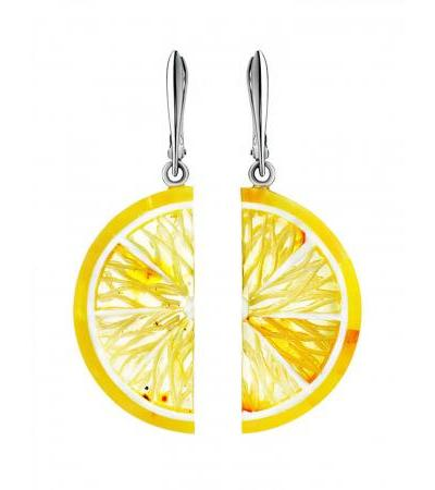 """Bright earrings """"Orange"""" from natural amber with silver"""