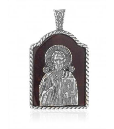 """""""Savior the Almighty (Pantokrator) with the Bible."""" Icon pendant made of cherry amber with silver"""