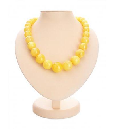 "Elegant beads from natural solid amber ""Ball honey"""