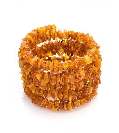 Healing bracelet made of unpolished amber on a 5-turn string