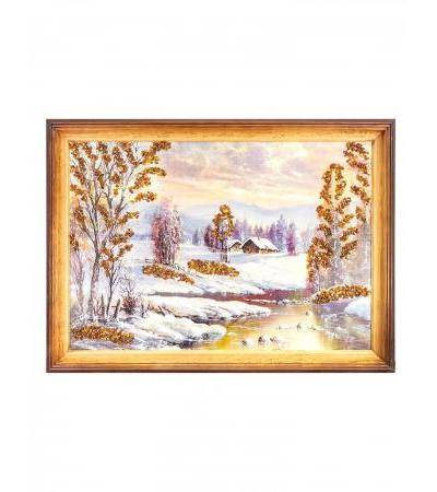 """Magnificent landscape with natural Baltic amber """"Siberian village"""""""