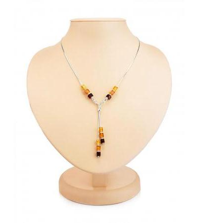 """Light necklace made of silver and natural Baltic amber of different shades """"Refined"""""""