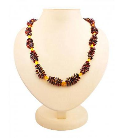 """Natural amber necklace of cherry and golden color """"Pigtail"""""""