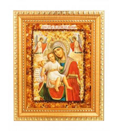 """Icon of the Mother of God """"It is worthy to eat"""", decorated with natural amber"""