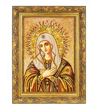 """Icon made of natural amber """"Joy of all the joys"""", decorated with mother-of-pearl"""