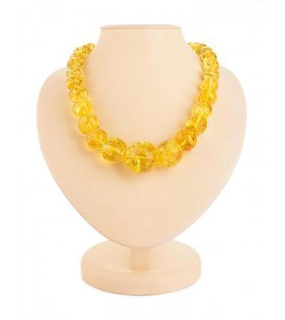 "Spectacular classic shape beads made of natural amber ""Lemon crumpled ball"""