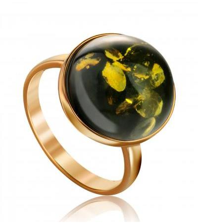 """Bright beautiful ring of sparkling green amber in gilded silver """"Sorbonne"""""""