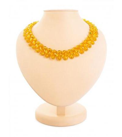 """Bright golden necklace made of natural amber and beads """"Lukomorye"""""""