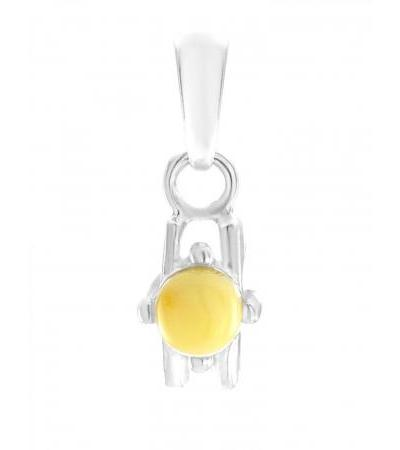 """Small pendant made of silver with natural Baltic amber """"Mexico"""""""