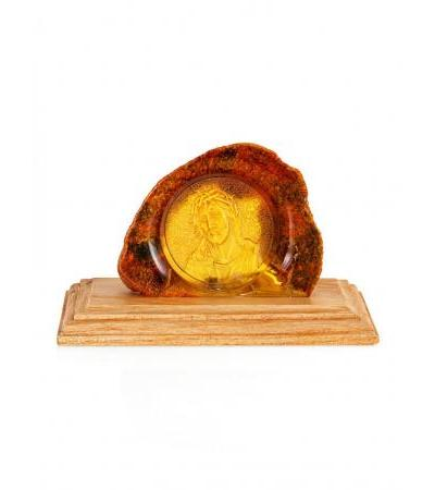 """Carved amber icon on a wooden stand """"Christ in the crown of thorns"""""""