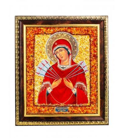 """Icon of the Mother of God """"Softening Evil Hearts"""" (Seven-shot) with natural amber"""