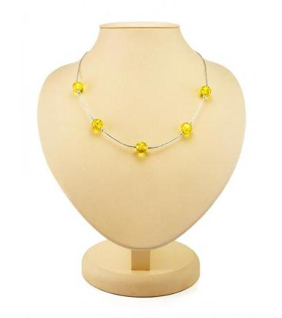 """Silver necklace, decorated with balls-spacers made of natural amber lemon color """"Olympia"""""""