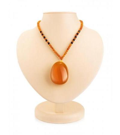 """Necklace made of natural aged amber of dark honey color """"Laura"""""""