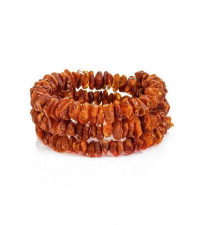 Bracelet made of dark cognac unpolished amber with healing effect