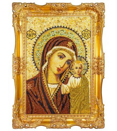 """Luxurious icon made of natural Baltic amber """"Our Lady of Kazan"""""""