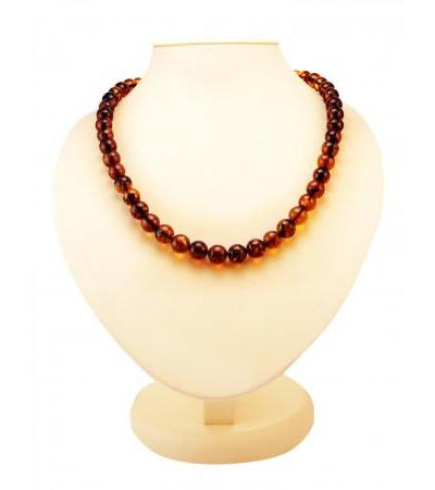 "Beads from natural Baltic amber of saturated cognac color ""Shar medium"""