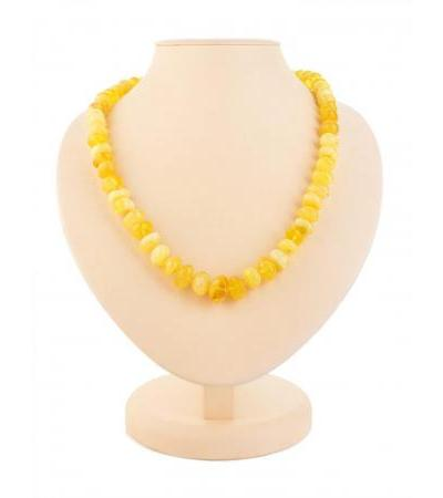 """Delicate beads made of natural honey-colored amber """"Large glossy pebbles"""""""