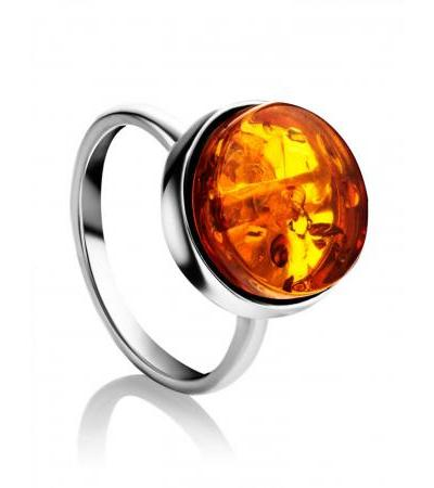 """Silver ring with natural golden amber """"Furor"""""""