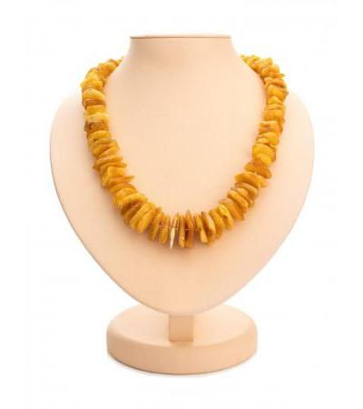 """Natural amber beads with a slight aging effect """"Dark honey chips"""""""