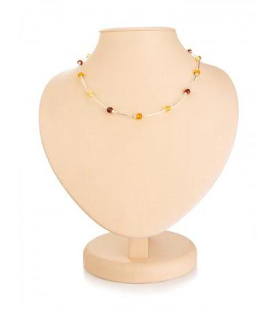"Light thin necklace made of silver with amber of different shades ""Caramel"""