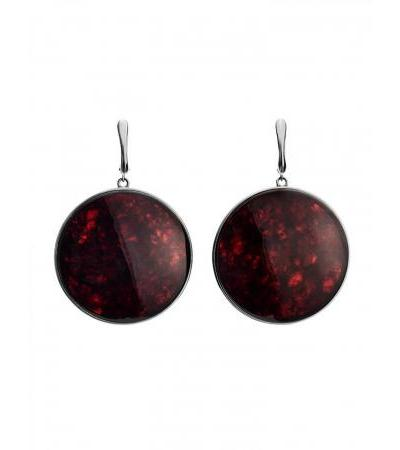 """Luxurious silver earrings with cherry amber """"Monaco"""""""