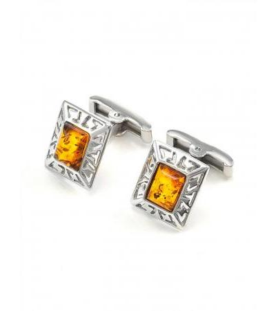 """Stylish cufflinks """"Ithaca"""" made of silver with natural cognac amber"""