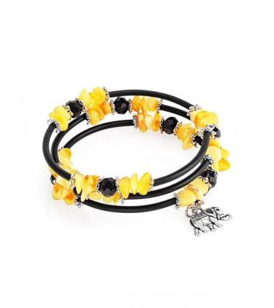 """Children's bracelet on a string """"Oklahoma"""" with amber and a pendant-elephant"""