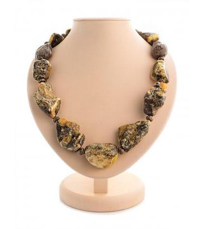 "Unusual necklace ""Indonesia"" made of natural solid amber"