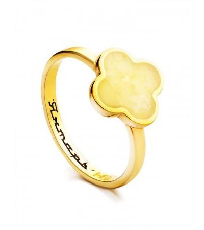 """Elegant thin ring """"Monaco"""" Amber® in gilded silver and amber"""