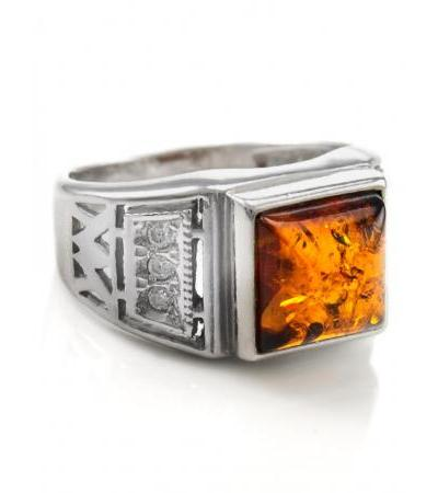 """Classic men's ring, decorated with amber and zircons """"Caesar"""""""
