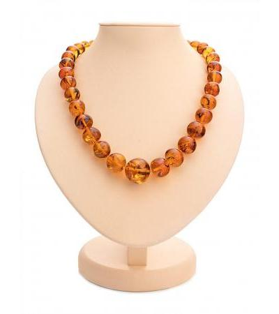 "Luxurious large beads made of natural amber ""Crumpled cognac ball"""