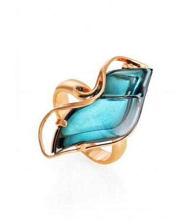 """Original ring """"Serenade"""" in silver with gold plating and topaz London"""