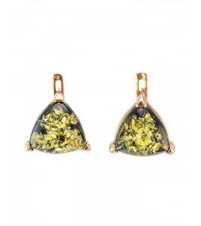 """Small earrings made of silver with gilding with green amber inserts """"Triangle"""""""