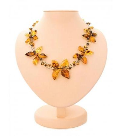 "Sparkling necklace made of natural amber on a string ""Primrose"""