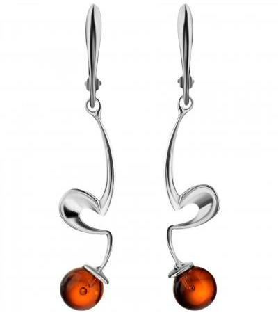 """Graceful earrings made of silver and natural amber cognac color """"Leia"""""""