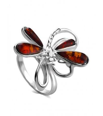 "Bright original ring made of silver and natural Baltic cherry amber ""Dragonfly"""