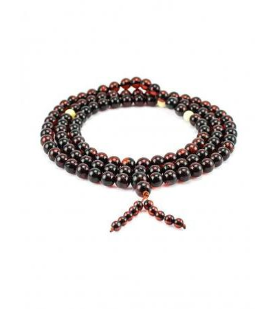 Amber rosary for 108 beads-balls of deep dark cherry color
