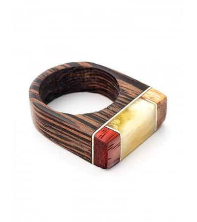 """Eco-style ring made of wood and natural amber """"Indonesia"""""""