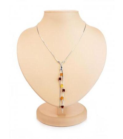 """Graceful silver necklace """"Refined"""" with natural Baltic amber"""