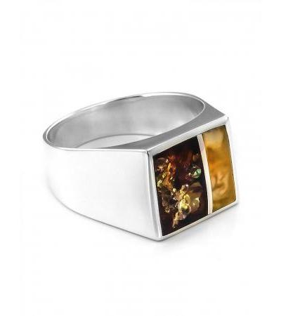 Bright silver ring with natural amber inserts London