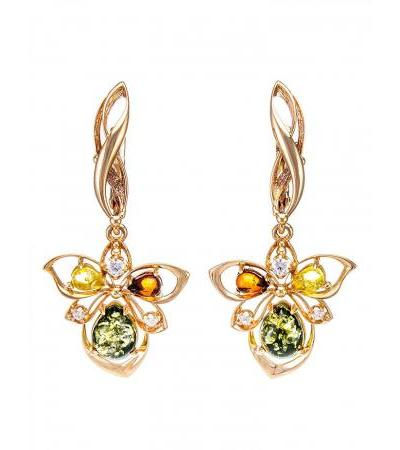 """Elegant earrings """"Edelweiss"""" made of natural amber in gilded silver"""